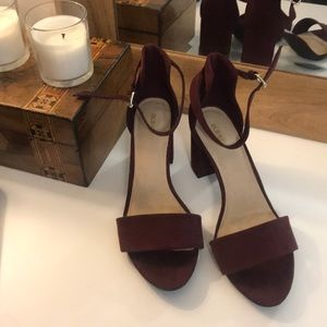 Maroon block heels